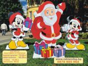 Коледна украса-Дядо Коледа с Мики и Мини Маус-95см. 80лв/бр